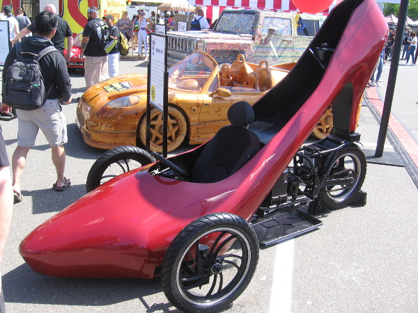 The bizarre High Heel Car has a dragster-style frame in the shape of a large high heel shoe!