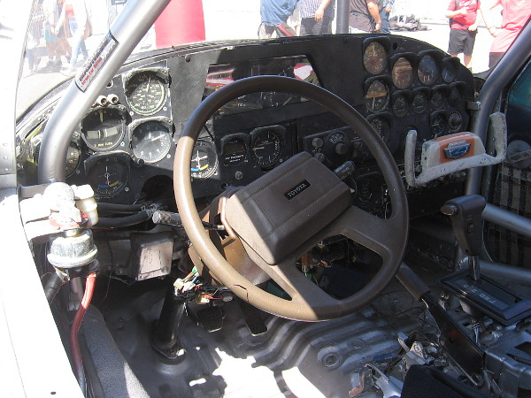 Photo of the airplane cockpit where the driver operates Spirit of LeMons.
