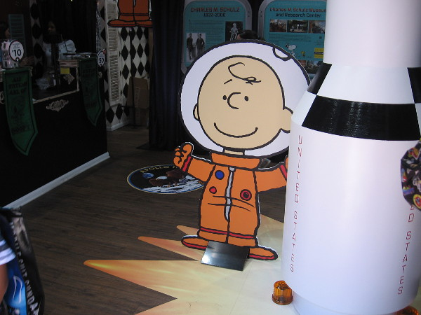 Charlie Brown welcomes visitors to the Peanuts Pop-Up Shop in San Diego during 2019 Comic-Con, on the 50th anniversary of the first moon landing.