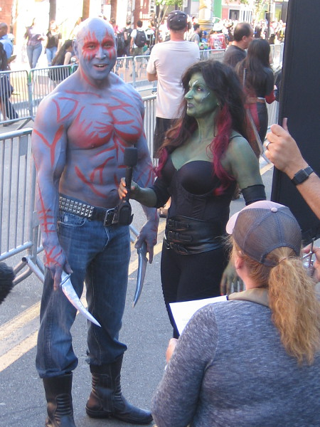Drax the Destroyer and Gamora cosplay.