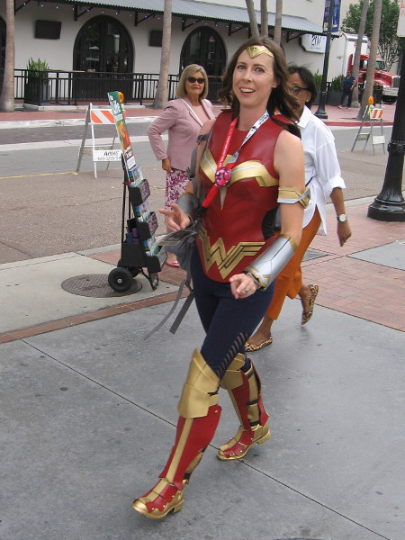 Wonder Woman cosplay. She was in a hurry to vanquish a villain down the street.
