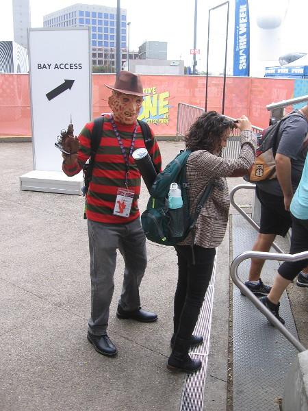 Freddy Krueger cosplay.