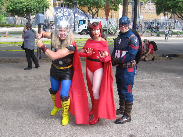 Thor, Scarlet Witch and Captain America cosplay.