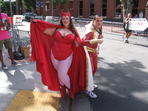 Scarlet Witch and Shazam cosplay.