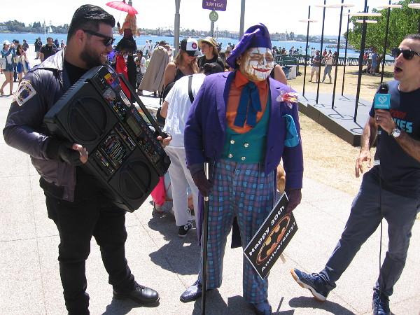 Joker tells reporter this town needs an enema.