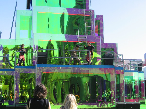 I watched a mock fight up on the colorful central structure.