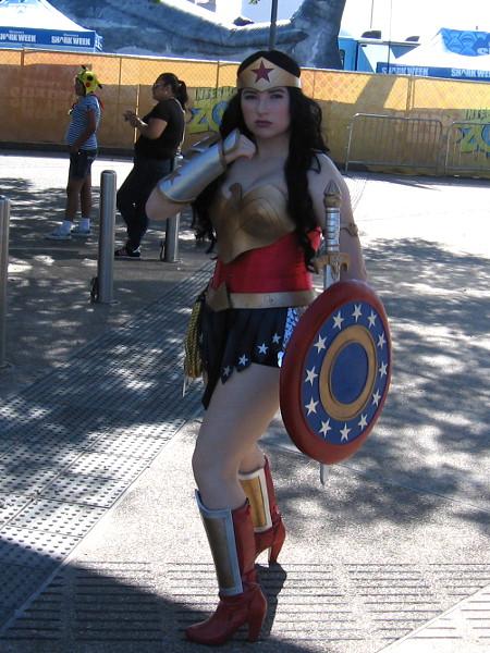 Wonder Woman cosplayer strikes a pose.