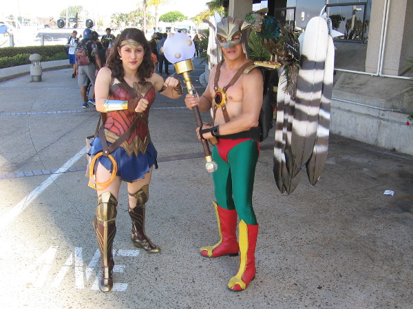Awesome Wonder Woman and Hawkman cosplay!