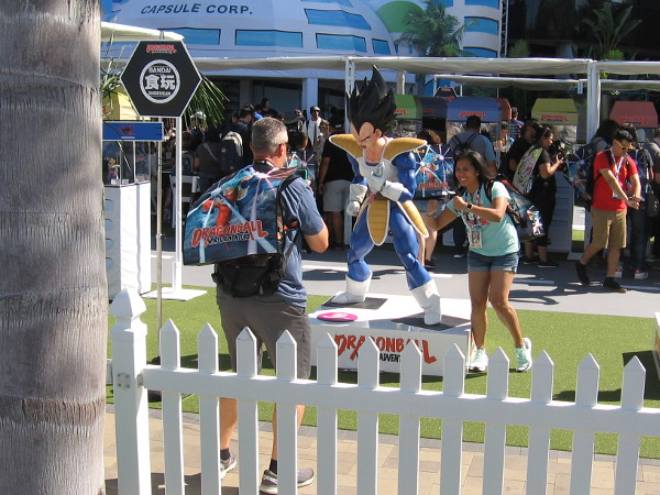 Taking photos in the Dragon Ball Z activation.