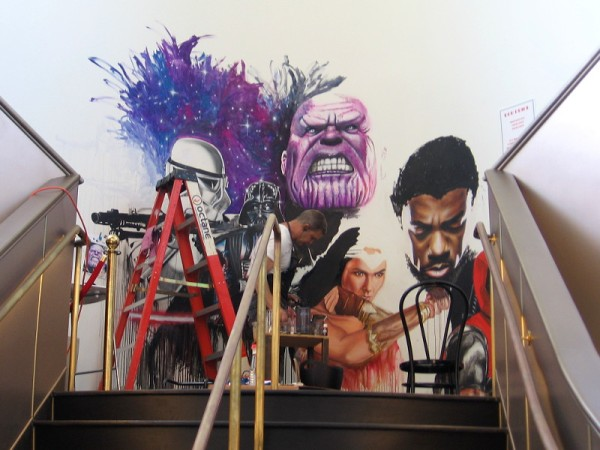 Comic book artist Rob Prior paints a cool mural inside the Theatre Box in San Diego.