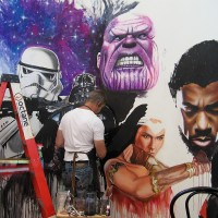 Rob Prior paints cool mural during Comic-Con!