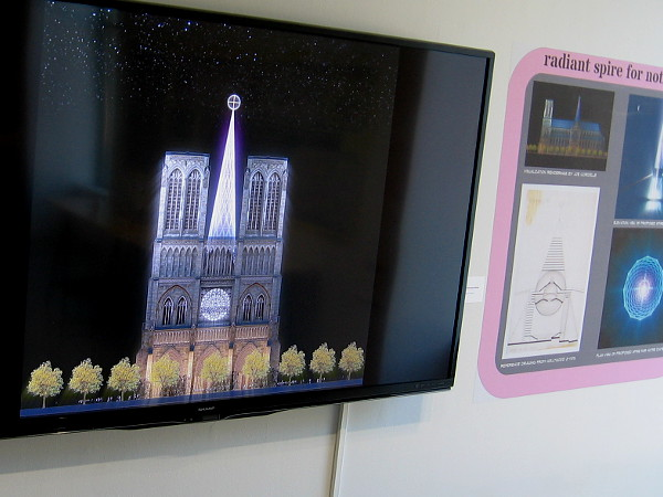 Appearance of rebuilt Notre Dame Cathedral with Radiant Spire, designed by architect Eugene Ray.