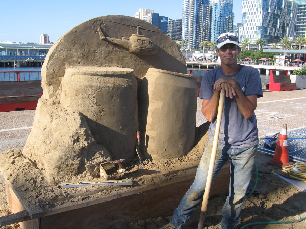 Sand master and TV star Chris Guinto smiles for my camera! I met him briefly five years ago during this annual competition. This sculpture he's working on promotes Natural Light Seltzer.