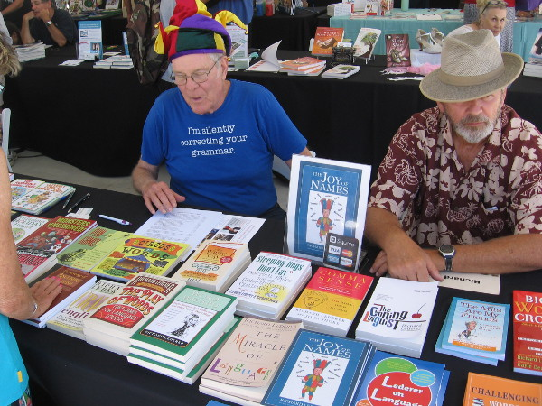 Local word lover Richard Lederer, the Wizard of Idiom, was showing his many books and silently correcting my grammar.