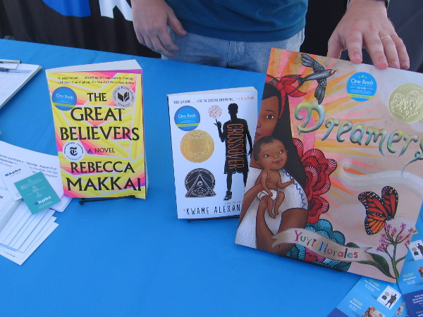 KPBS had a table display of this year's One Book, One San Diego titles.