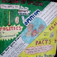 Student posters celebrate Freedom of Speech.
