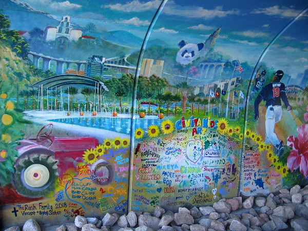 Beneath San Diego State University and Balboa Park, Civita Park has been painted in Mission Valley, along with the names of Civita Kids Art.