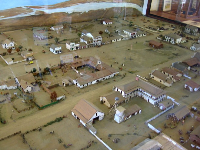 Inside the Robinson-Rose House visitors can view a large model behind glass. It shows what Old Town San Diego looked like in 1872.