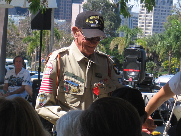 Tom Rice smiles after a brief speech at the 2019 Spirit of '45 Celebration at The Veterans Museum at Balboa Park.