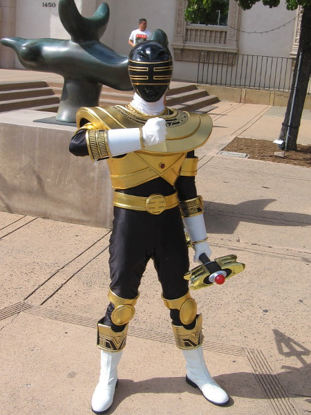 Gold Zeo Power Ranger, Trey of Triforiaz, cosplay in Balboa Park.
