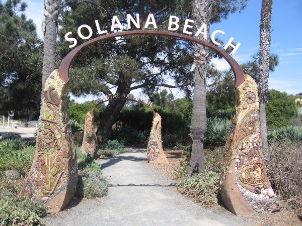 Two arches by artist Betsy Schulz welcome walkers and riders to Solana Beach's Coastal Rail Trail at Highway 101 and Via de la Valle.