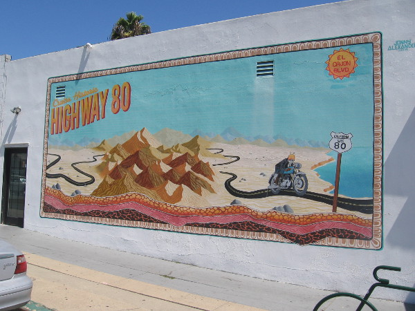 Mural by artist Jonny Alexander at El Cajon Boulevard and Winona Avenue remembers old U.S. Highway 80.