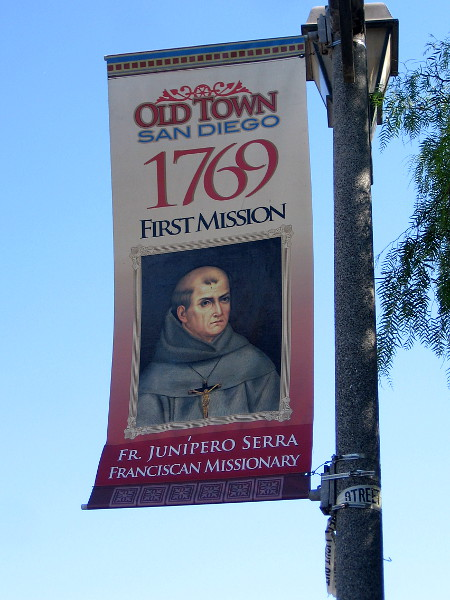 A banner on an Old Town lamp post remembers the year 1769, when Junípero Serra founded a Spanish mission in San Diego.