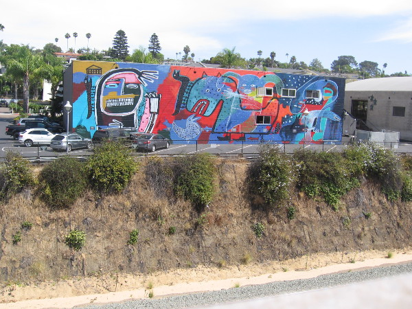 Across the train track I spotted the huge, eye-catching mural by artist Lindu Prasekti. It's called Myths at Play.