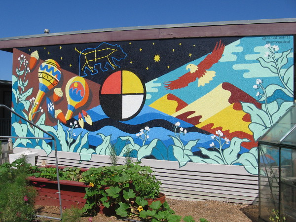 A colorful mural decorates one side of a building at the Harold J Ballard Parent Center. Created by @ronald.paints and @artreachsd.