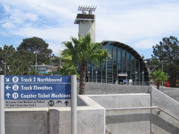 The visually interesting Solana Beach train station was designed by architect Rob Wellington Quigley, and was built in 1994.