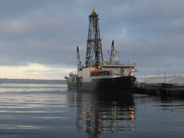 Research vessel JOIDES Resolution (Joint Oceanographic Institutions for Deep Earth Sampling), a scientific drilling ship used by the International Ocean Discovery Program, docked in San Diego.