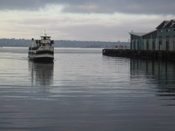 Here come Cabrillo, the Coronado Ferry, across a very smooth San Diego Bay.