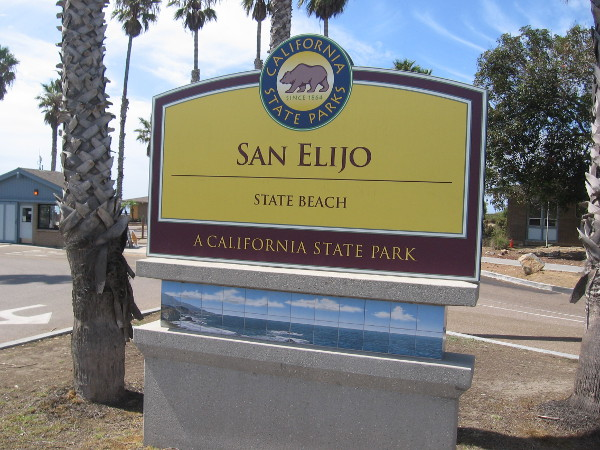 Entrance sign at San Elijo State Beach in Cardiff-by-the Sea.