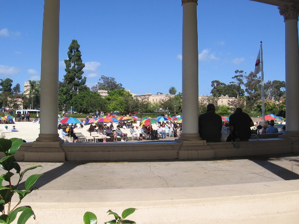 Summer is over and crowds have thinned, but it's still pretty warm out in the sun at the Spreckels Organ Pavilion.