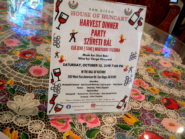 A fancy Harvest Dinner Party is planned at the House of Hungary.