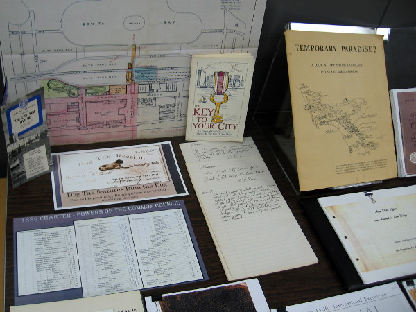 Many historical documents in the exhibit provide fascinating glimpses into San Diego's past.