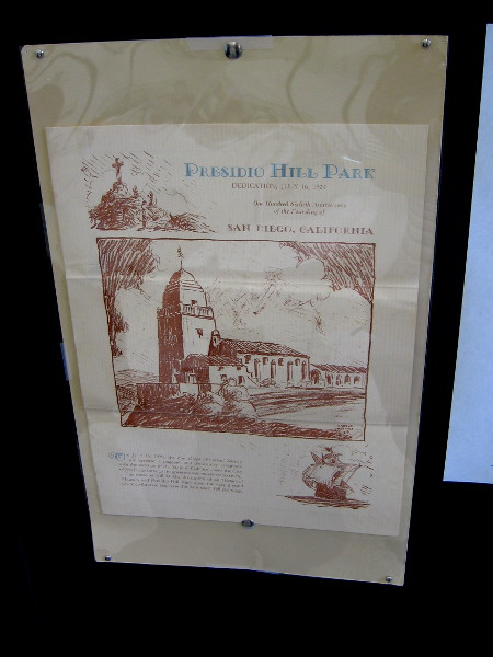 Historical documents on display includes an announcement for the Presidio Hill Park dedication in 1929.
