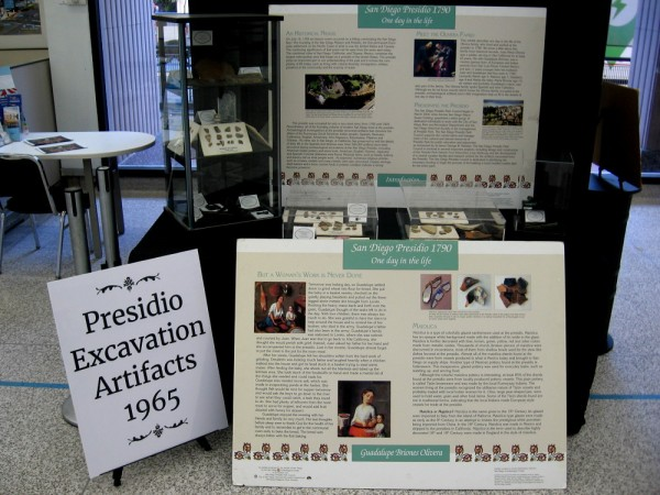 Posters describe 18th century San Diego and Presidio Excavation Artifacts from 1965.