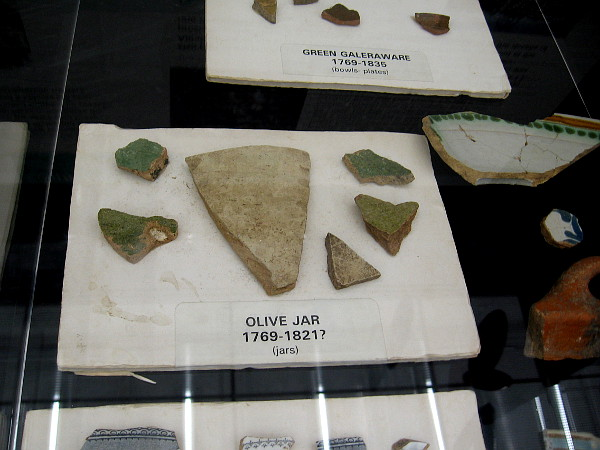 These fragments from an olive jar might date as far back as 1769.