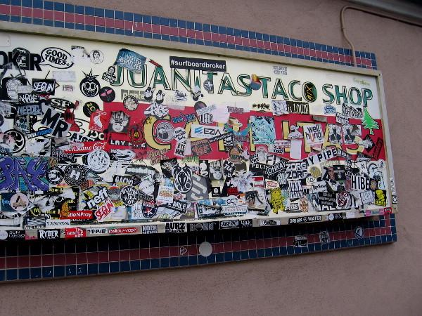 Stickers at Juanitas Taco Shop.