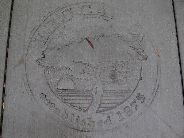 A cool design stamped in the sidewalk. Leucadia established 1875.