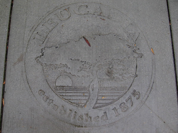 A cool design stamped in the sidewalk. Leucadia established 1875.