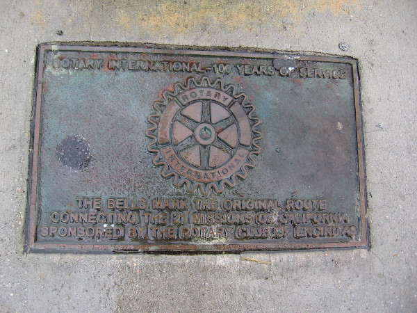 Rotary International plaque near the base of the El Camino Real bell.