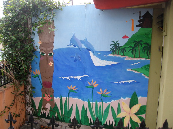 A cool little mural with a tropical ocean scene.