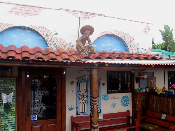 Some outdoor decor at a Mexican restaurant.