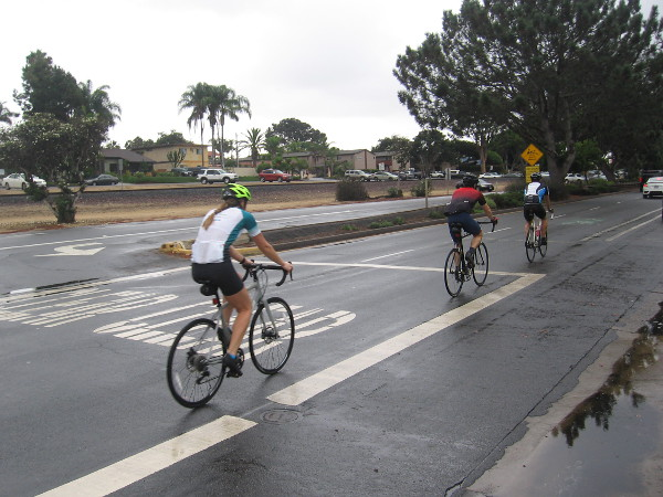 Bicyclists head south on old Coast Highway 101.