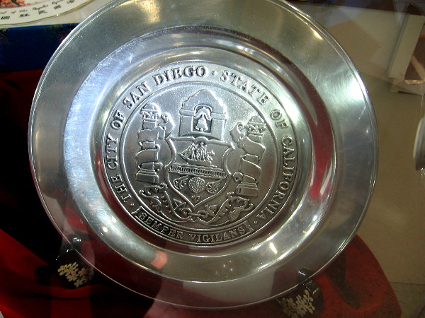 Armetale plate with Seal of City of San Diego.