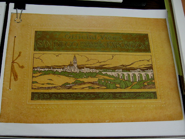 While walking about the City Archives I spied the cover of an Official Views San Diego Panama-California Exposition souvenir book.