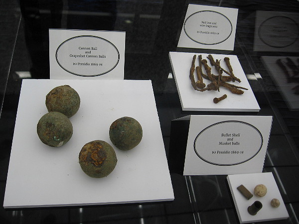 Presidio artifacts include cannon and musket balls.
