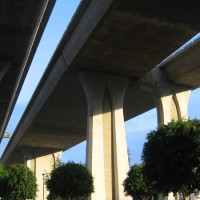 Photos beneath I-805 bridge in Mission Valley.